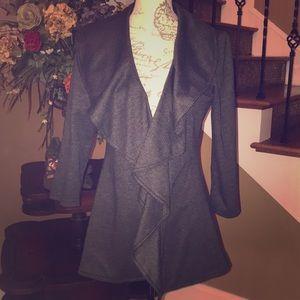 Calvin Klein ruffle collar blazer